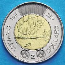 Канада 2 доллара 2017 год. Полярное сияние.
