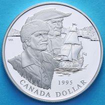 Канада 1 доллар 1995 год. 325 лет компании Гудзонова залива. Серебро.