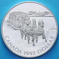 Канада 1 доллар 1992 год. 175 лет Кингстонскому дилижансу. Серебро. Пруф.