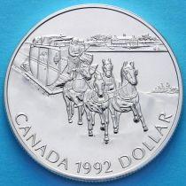 Канада 1 доллар 1992 год. 175 лет Кингстонскому дилижансу. Серебро.