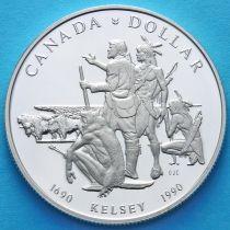 Канада 1 доллар 1990 год. 300 лет путешествию Генри Келси. Серебро.