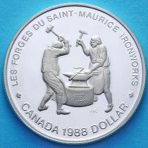 Канада 1 доллар 1988 год. Кузнецы Сен-Мориса. Серебро. Пруф.