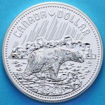 Канада 1 доллар 1980 год. Арктические территории. Белый медведь. Серебро.