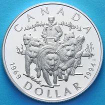 Канада 1 доллар 1994 год. Патруль на собачьих упряжках. Серебро. Пруф.