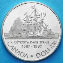 Канада 1 доллар 1987 год. 400 лет открытию пролива Дейвиса. Серебро. Пруф.