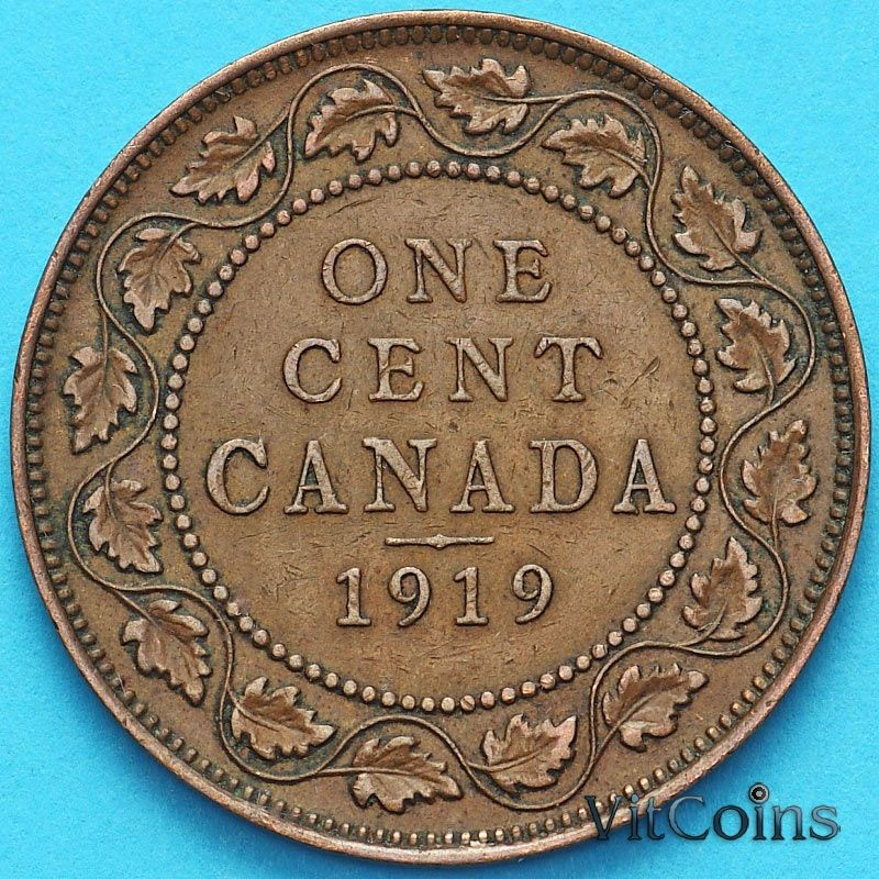 Монета Канада 1 цент 1919 год.