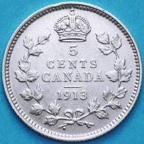Канада 5 центов 1913 год. Серебро. №1