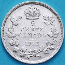 Канада 5 центов 1912 год. Серебро.