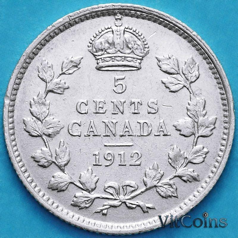 Монета Канада 5 центов 1912 год. Серебро.