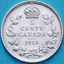 Канада 5 центов 1919 год. Серебро.