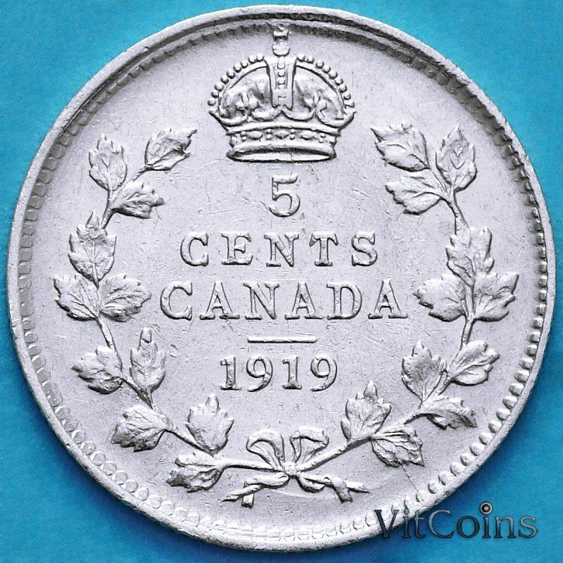 Монета Канада 5 центов 1919 год. Серебро.