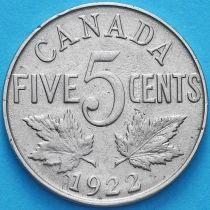 Канада 5 центов 1922 год.