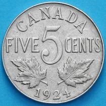 Канада 5 центов 1924 год.