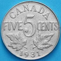 Канада 5 центов 1931 год.