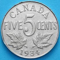 Канада 5 центов 1934 год.