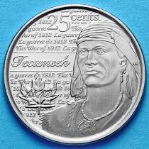 Канада 25 центов 2012 год. Вождь Шайенов Текумсе.