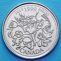Канада 25 центов 1999 год. Миллениум. Июль. Нация людей.