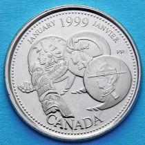 Канада 25 центов 1999 год. Миллениум. Январь. Развитие страны.