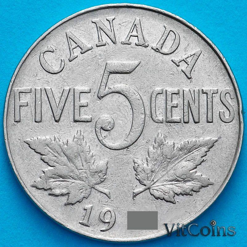 Монета Канада 5 центов 1928 год.