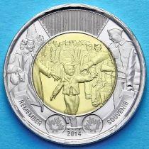 Канада 2 доллара 2014 год. 75 лет с начала войны