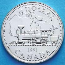 Канада 1 доллар 1981 год. Паровоз. Серебро.
