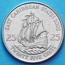 Восточные Карибы 25 центов 2002 год