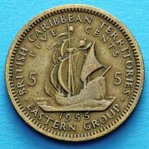 Британские Карибские Территории 5 центов 1955-1965 год.