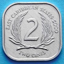 Восточные Карибские Территории 2 цента 1981-2000 год.