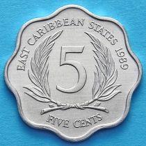 Лот 10 монет. Восточные Карибские Территории 5 центов 1981-2000 год.