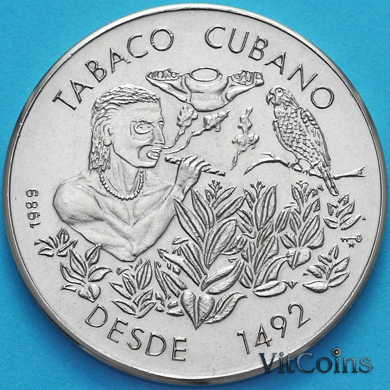 Монета Куба 1 песо 1989 год. Кубинский табак.