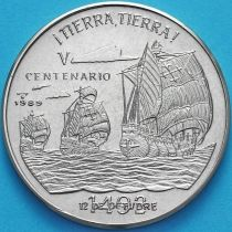 Куба 1 песо 1989 год. 500 лет открытию Америки. Земля, Земля!