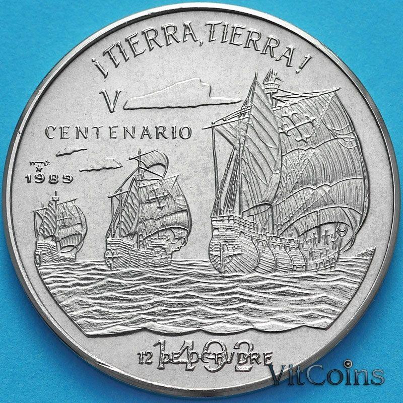 Монета Куба 1 песо 1989 год. 500 лет открытию Америки. Земля, Земля!
