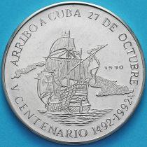 Куба 1 песо 1989 год. 500 лет открытию Америки. Прибытие на Кубу