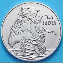 Куба 1 песо 1994 год. Парусник Индия.