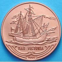 Куба 1 песо 1994 год. Парусник Виктория. Медь.