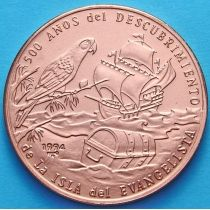 Куба 1 песо 1994 год. Открытие острова Евангнлиста. Медь