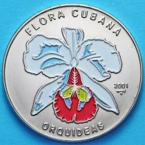 Куба 1 песо 2001 год. Белая орхидея. Эмаль