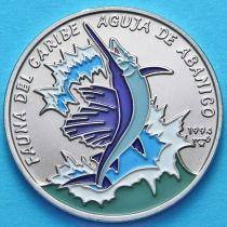 Куба 1 песо 1994 год. Рыба парусник. Эмаль