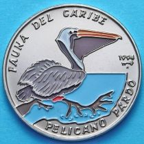 Куба 1 песо 1994 год. Американский бурый пеликан. Эмаль