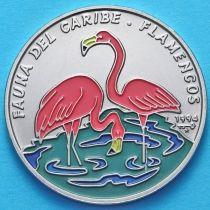 Куба 1 песо 1994 год. Розовый фламинго. Эмаль