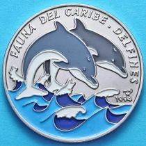Куба 1 песо 1994 год. Дельфины. Эмаль