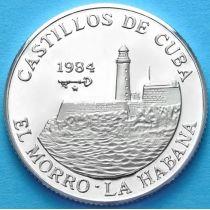 Куба 5 песо 1984 г. Крепость Морро, вид с моря. Серебро