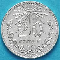 Мексика 20 сентаво 1941 год. Серебро.