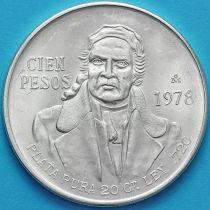 Мексика 100 песо 1978 год. Серебро. Мария Морелос