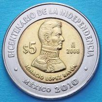Мексика 5 песо 2008 год. Игнасио Лопес Район.