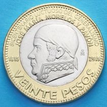 Мексика 20 песо 2015 год. 200 лет со дня смерти Хосе Марии Морелоса.