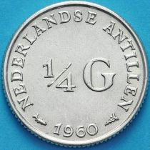Нидерландские Антилы 1/4 гульдена 1956-1963 год. Серебро.