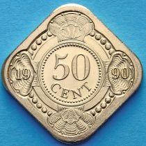 Нидерландские Антилы 50 центов 1990 год.