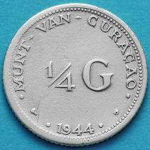 Нидерландские Антилы, Кюрасао 1/4 гульдена 1944 год. Серебро.