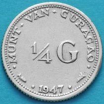 Нидерландские Антилы, Кюрасао 1/4 гульдена 1947 год. Серебро.